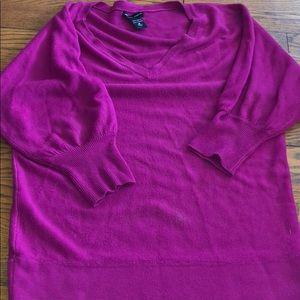 New York & Co V Neck Tunic Sweater Pink Medium